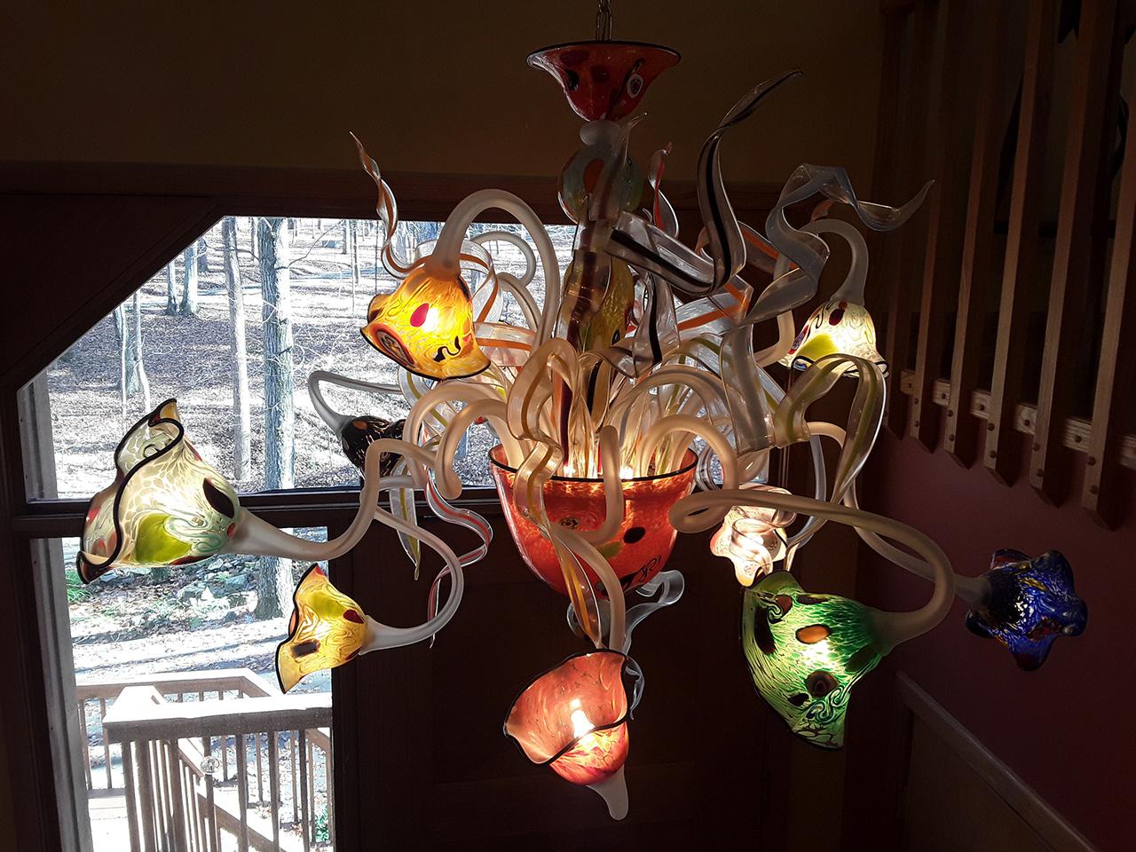 Lampadario in vetro di Murano colorato e murrina - Massimiliano Schiavon