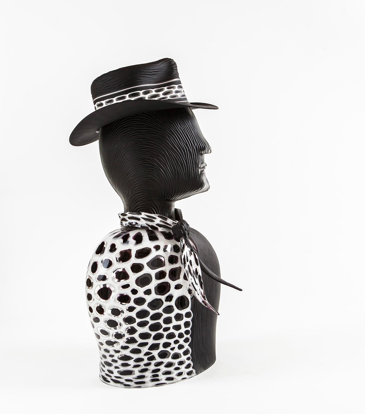 scultura-bianco-e-nero-vetro-murano-schiavon